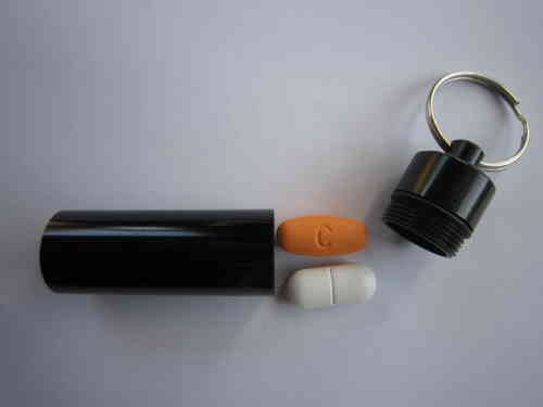 Key Ring Pill Box - Black