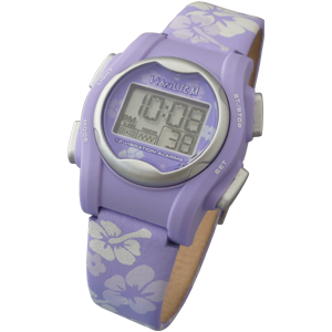 VibraLITE MINI - Purple Leather Band - Vibrating 12 Alarm Reminder Watch