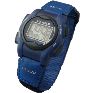 VibraLITE 12 MINI - Velcro Blue Band - Vibrating Alarm Reminder Watch - TabTimer TTW-VM-VBL