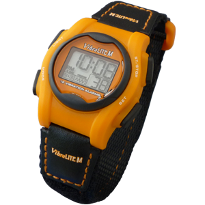 VibraLITE MINI - Velcro Orange Black Band - 12 Alarm Vibrating Watch
