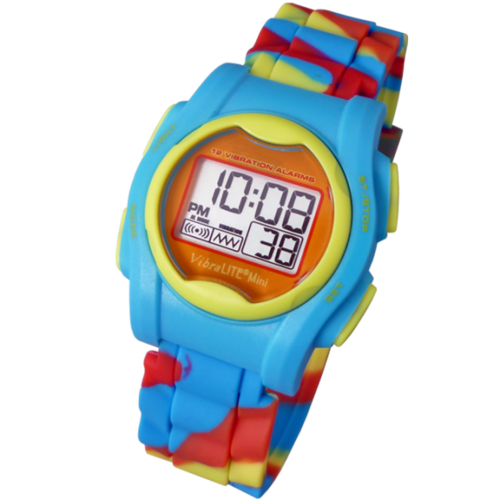 VibraLITE MINI - Multi Colour Rainbow Silicon Band - Vibrating Watch - TabTimer TTW-VM-SMC