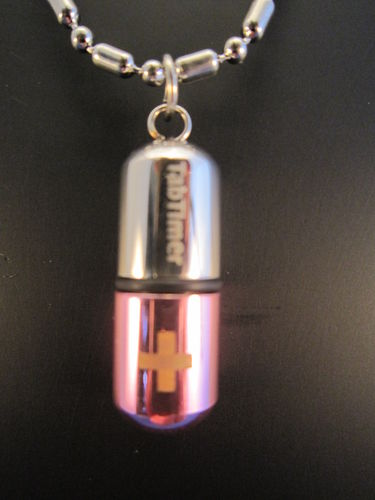 TabTimer Necklace Pill Box Pink TT-NECK-PK
