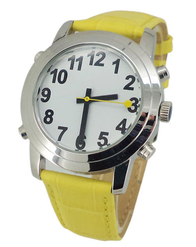 Low Vision Talking Watch for low vision or vision impairment - yellow leather band - TTW-LVTW-YELL