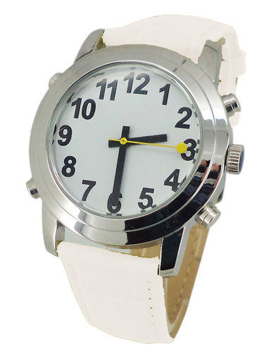 Low Vision Talking Watch for low vision or vision impairment - white leather band - TTW-LVTW-WHT