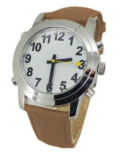 Low Vision Talking Watch for low vision or vision impairment - brown leather band - TTW-LVTW-BRW