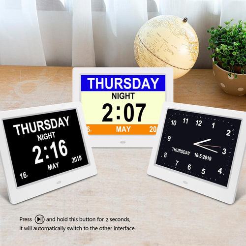 "8"" Digital Calendar Day Clock - Orientation Dementia Clock - TTC-DC8001"