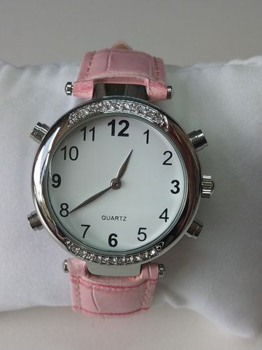 Low Vision Talking Watch for low vision, blind, & vision impaired Pink rhinestone - TTW-LVTW-RPK