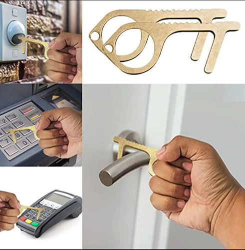 Contactless Copper Door Opener Keychain Hook Accessory